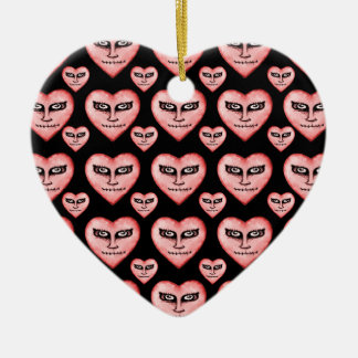 Angry Devils Heart Drawing Ceramic Ornament