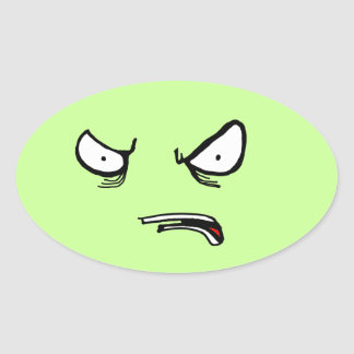 Angry Disappointment Oval Sticker
