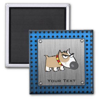 Angry Dog; Metal-look 2 Inch Square Magnet