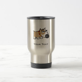 Angry Dog; Metal-look Travel Mug
