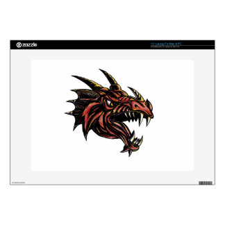 Angry Dragon Head Scratchboard Laptop Decal
