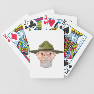 Angry Drill Sergeant Cartoon Bicycle Playing Cards