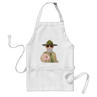 Angry Drill Sergeant Pointing Adult Apron