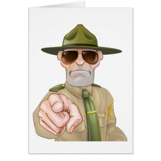 Angry Drill Sergeant Pointing Card