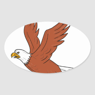 Angry Eagle Flying Cartoon Oval Sticker