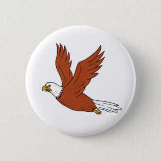 Angry Eagle Flying Cartoon Pinback Button