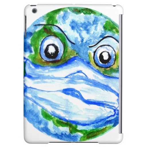 Angry Earth planet in face mask Case For iPad Air