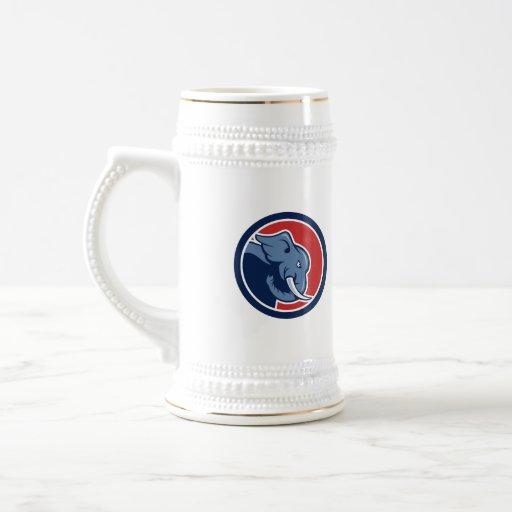 Angry Elephant Head Side Cartoon Coffee Mugs