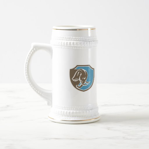 Angry Elephant Head Side Shield Retro Coffee Mug