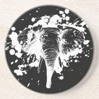 Angry Elephant in White Coasters