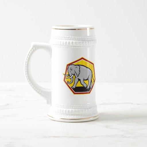 Angry Elephant Walking Cartoon Coffee Mug