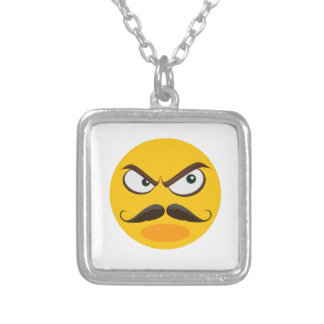 Angry emoji mustache silver plated necklace