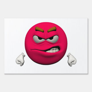 Angry emoticon lawn sign