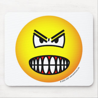 Angry emoticon mouse pad