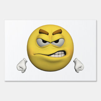 Angry emoticon yard sign