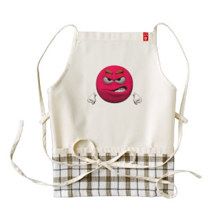 Angry emoticon zazzle HEART apron