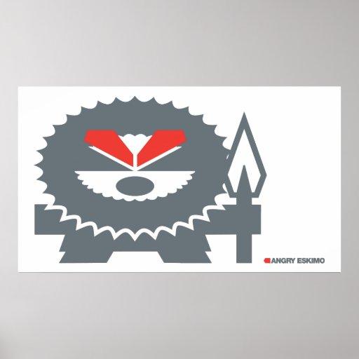 Angry Eskimo - grey Poster