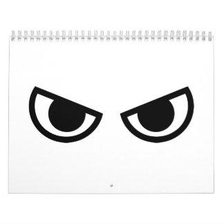 Angry eyes face calendar