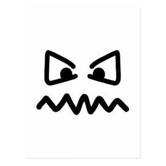 Angry eyes face postcard