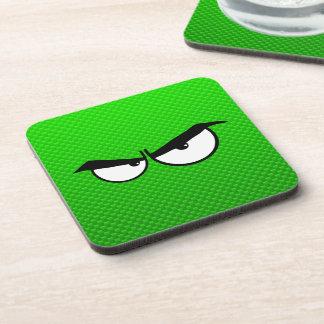 Angry Eyes; Green Beverage Coasters
