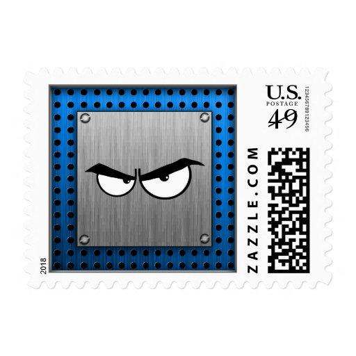 Angry Eyes; Metal-look Postage Stamp