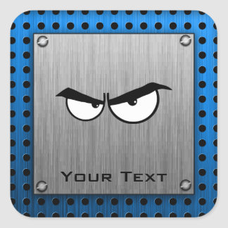 Angry Eyes; Metal-look Square Sticker
