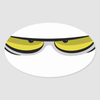 Angry eyes oval sticker