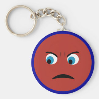 Angry Face Basic Round Button Keychain