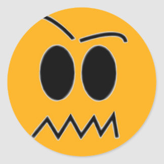 angry face classic round sticker