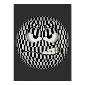 Angry Face Emoticon Poster