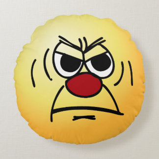 Angry Face: I hate working mandatory overtime Round Pillow