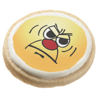 Angry Face: I hate working mandatory overtime Round Shortbread Cookie