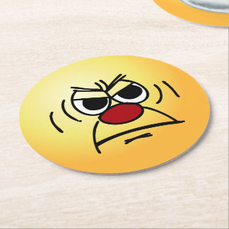 Angry Face: I hate working mandatory overtime Round Paper Coaster