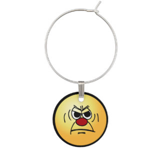 Angry Face: I hate working mandatory overtime Wine Charms