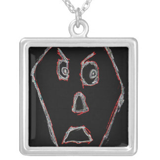 Angry Face Square Pendant Necklace