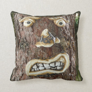 Angry Face Tree Throw Pillow