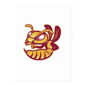 angry female hornet mascot postcard