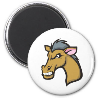 Angry Fierce Cartoon Horse 2 Inch Round Magnet