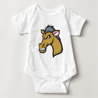Angry Fierce Cartoon Horse Baby Bodysuit