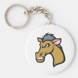 Angry Fierce Cartoon Horse Keychain