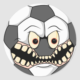 angry fierce soccer ball classic round sticker