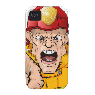 Angry fireman cartoon Case-Mate iPhone 4 covers