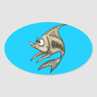 Angry Fish Oval Sticker