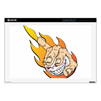 Angry Flamming Baseball Decals For Laptops