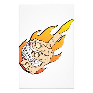 Angry Flamming Baseball Stationery