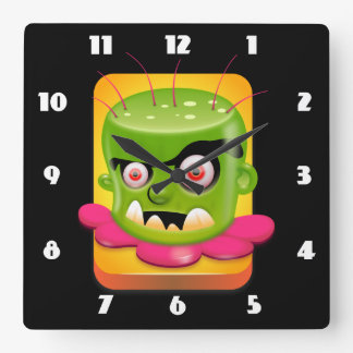 Angry Frankenstein Square Wall Clock
