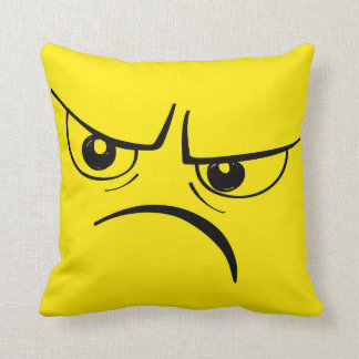 Angry Frown Yellow Smiley Face Throw Pillow
