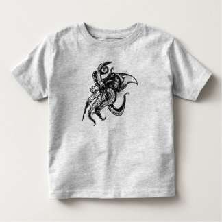 Angry Giant Squid in Black Toddler T-shirt