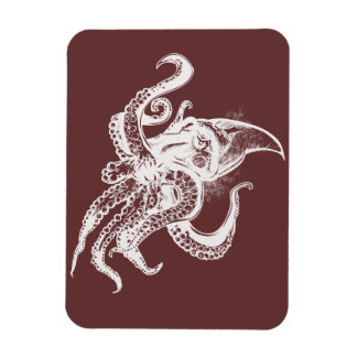 Angry Giant Squid in White Pick Your Background Magnet