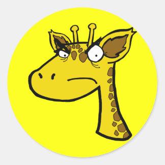 Angry Giraffe Classic Round Sticker